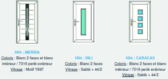 Porte d'extérieur : le catalogue Tryba est fort riche (ci-dessus, 3 variations sur un modèle)